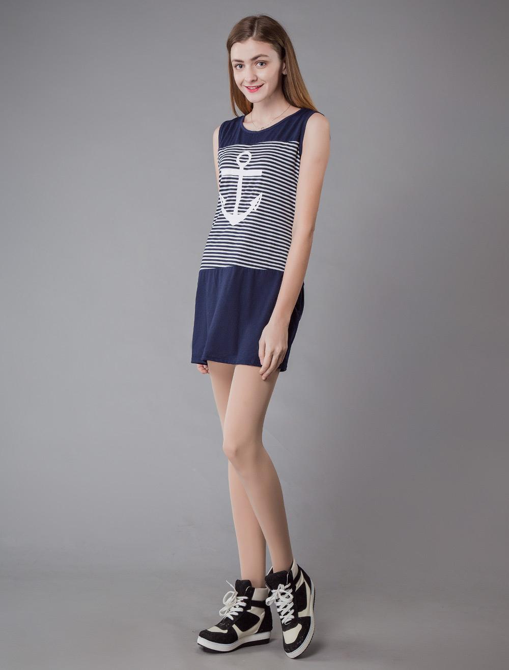 54d9003ccb859 ... Dresses for Women Sailor Style Sleeveless Mini Dress Striped Bodycon  Dress -No.4 ...