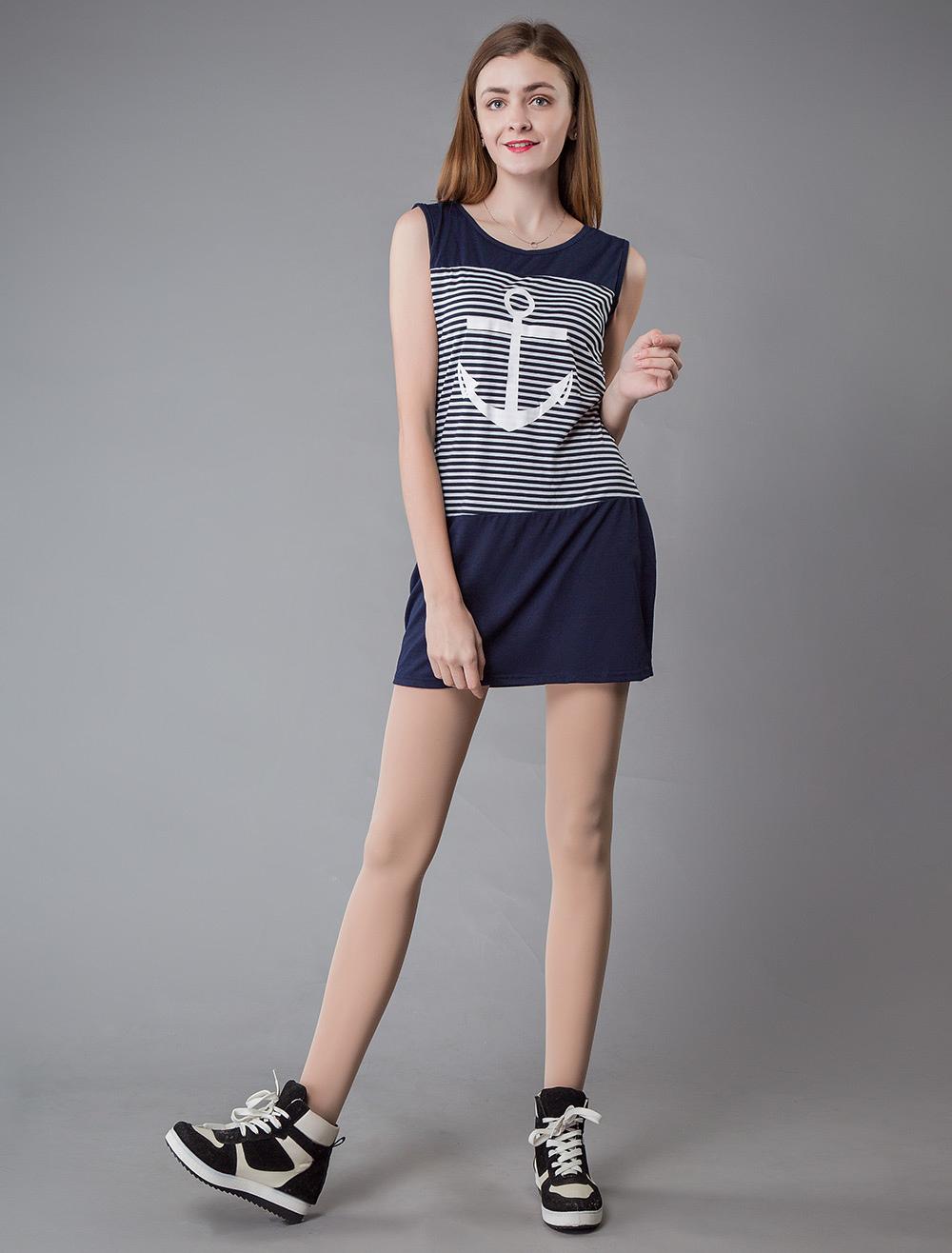 8cdd89c8e6f49 ... Dresses for Women Sailor Style Sleeveless Mini Dress Striped Bodycon  Dress -No.6 ...