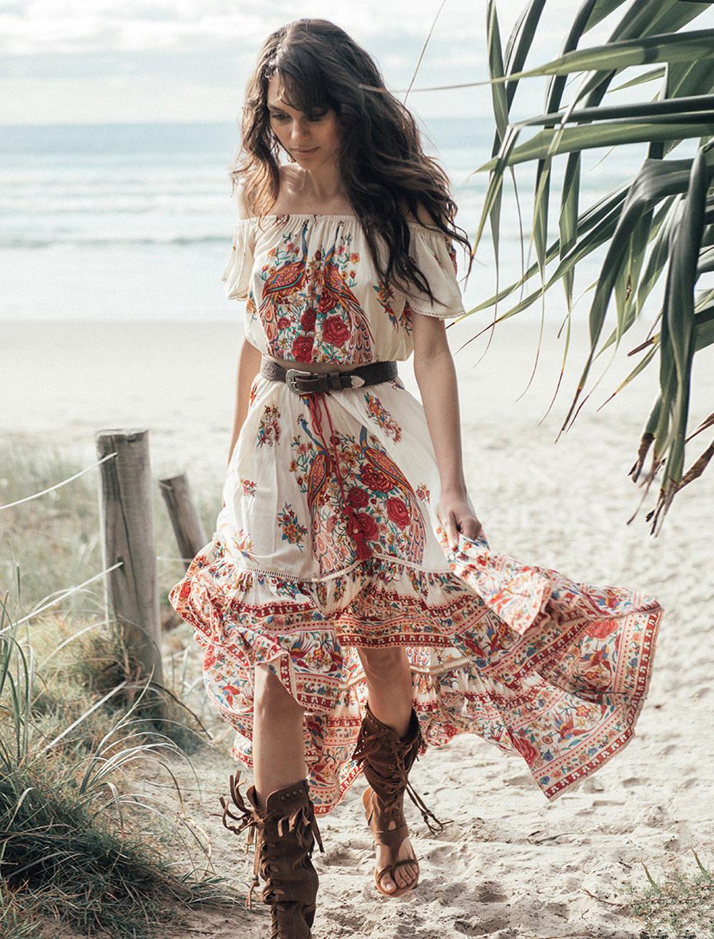 maxikleid rot sommerkleider lang mit print kurzarm damenmode maxi kleid und  carmenausschnitt bohemian kleider chiffon und rüschen für sommer kleider