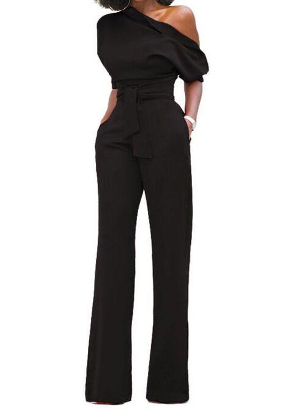 6b0c88fd6e8 ... Black Women Jumpsuit One Shoulder Short Sleeve Asymmetrical Straight  Leg Long Jumpsuits-No.3 ...