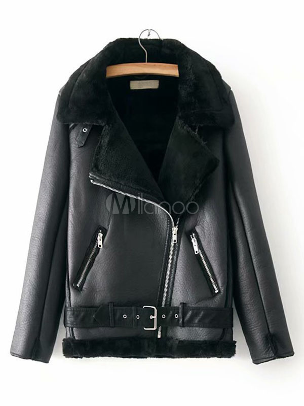 wholesale dealer 24fbd 73f16 Giacca invernale da donna Giacca da aviatore in pelle come sopra il  cappotto in finto shearling con zip