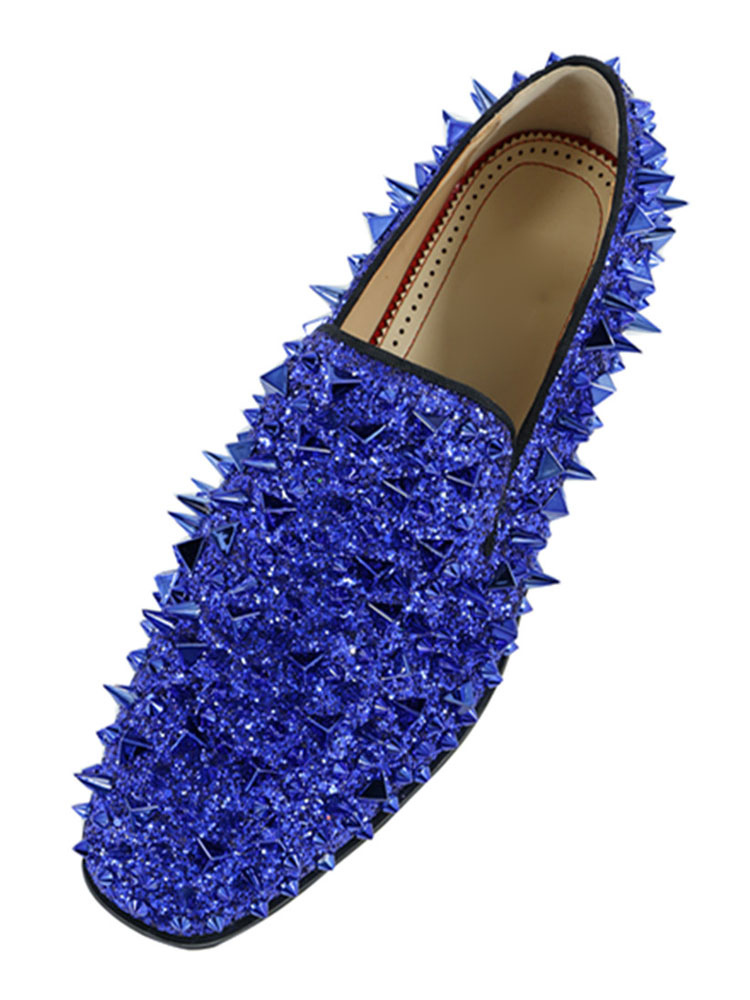 86102ddf71c83 Men Blue Loafers Glitter Prom Shoes Round Toe Rivets Slip On Spike Shoes