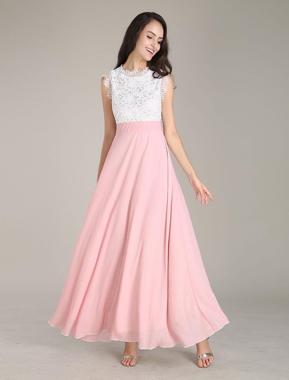 maxikleid ärmellos sommerkleider lang rosa damenmode mit rundkragen und  farbblock für sommer maxi kleid und probe-dinner chiffon kleider