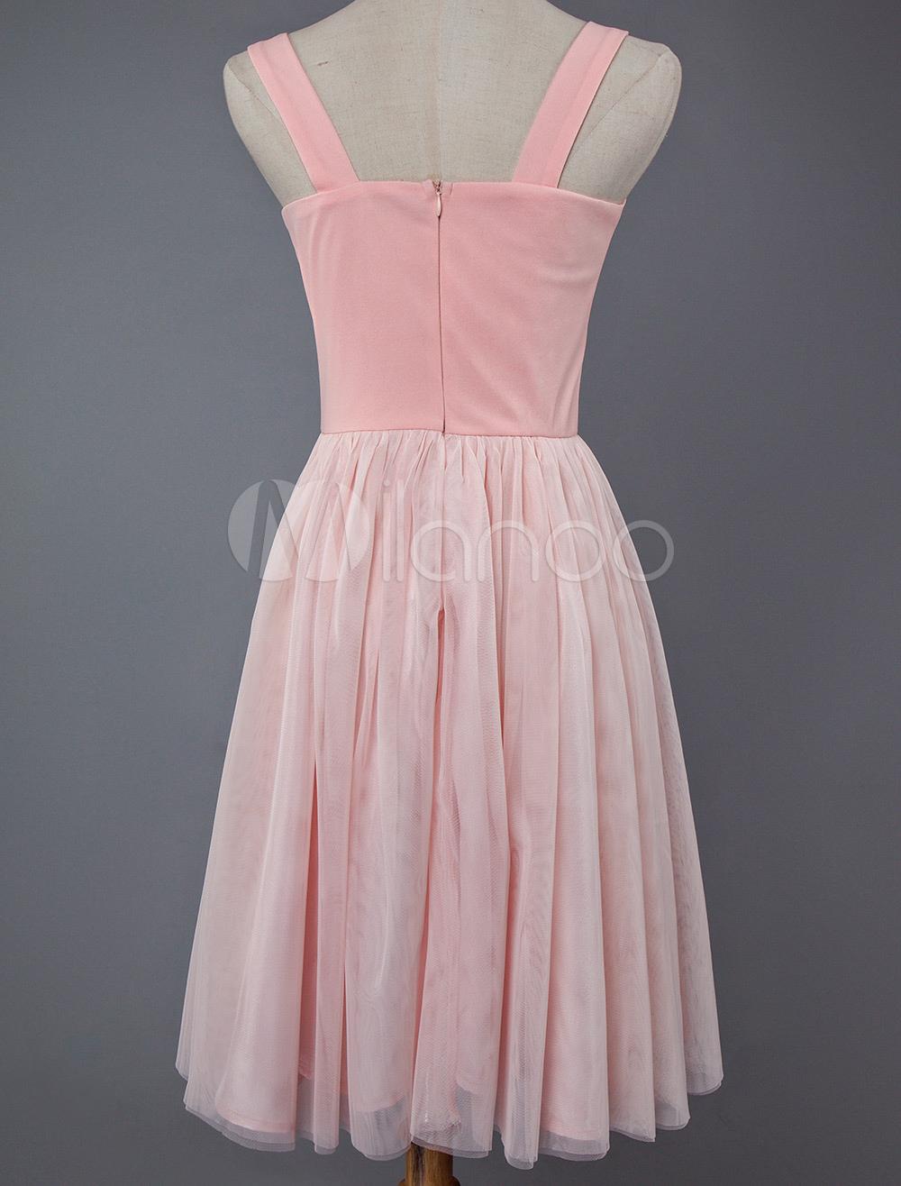 debbd7d45b ... Pink Skater Dress Short Prom Dress Tulle Straps Women Flared Homecoming  Dress-No.6 ...