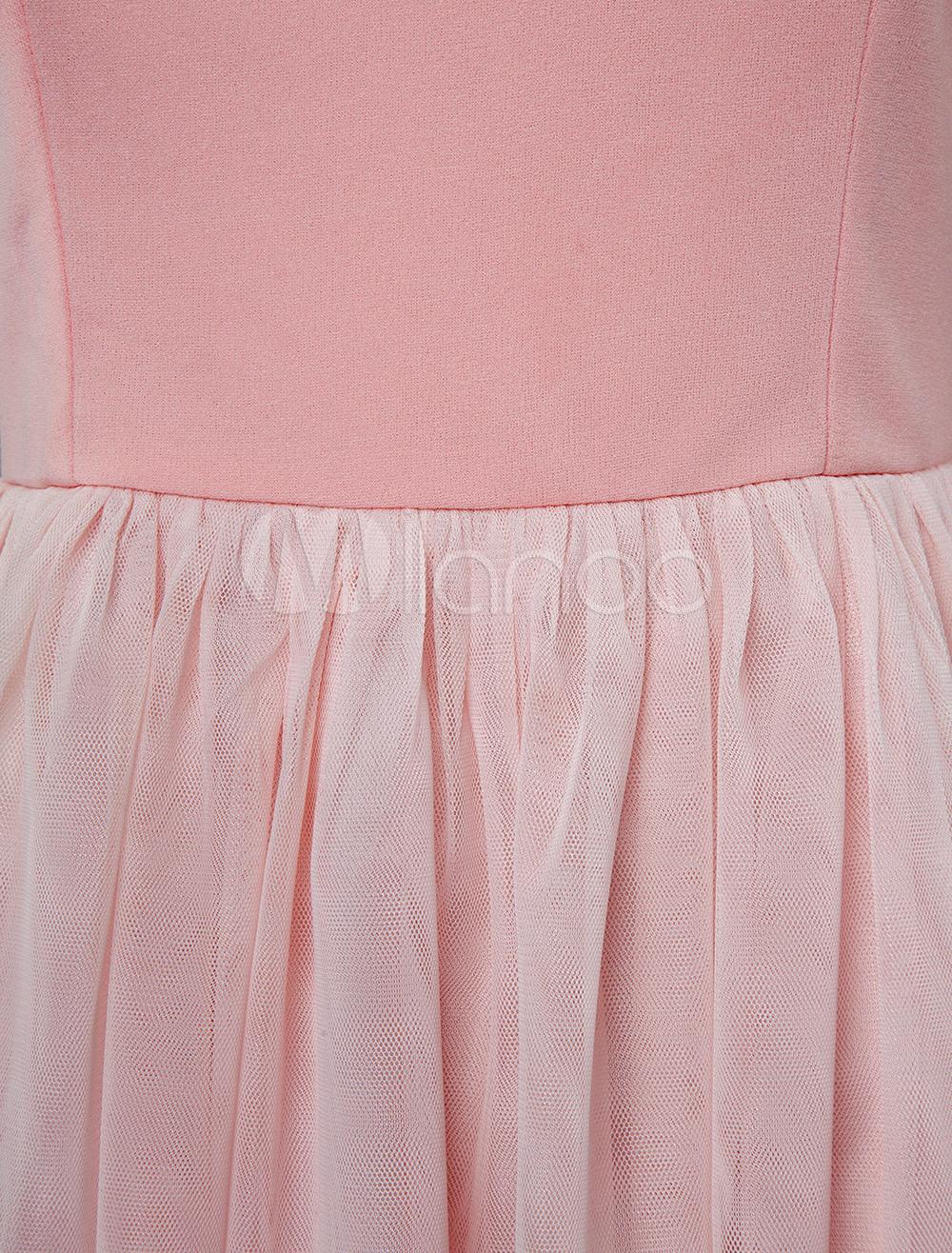 035994949c ... Pink Skater Dress Short Prom Dress Tulle Straps Women Flared Homecoming  Dress-No.9 ...