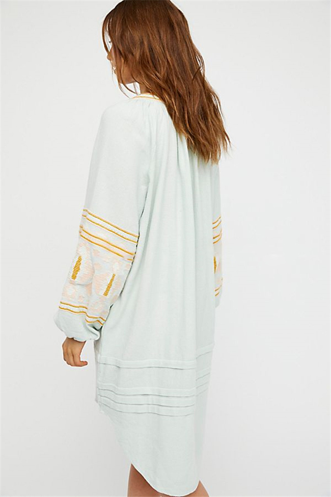 f244702665 ... Boho Summer Dress Ethnic Puff Long Sleeve Embroidered Shift Dress For  Women-No.12 ...