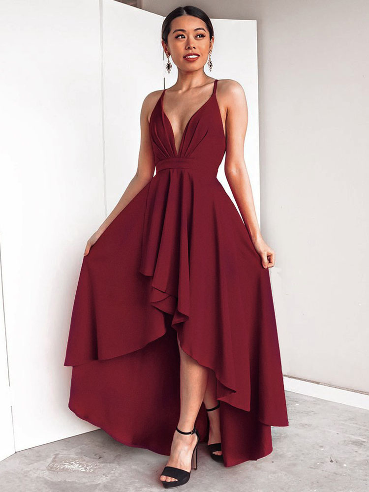 c398016274 Sexy Long Dress Women Sleeveless Plunging Neck Backless High Low Burgundy  Maxi Dress-No.