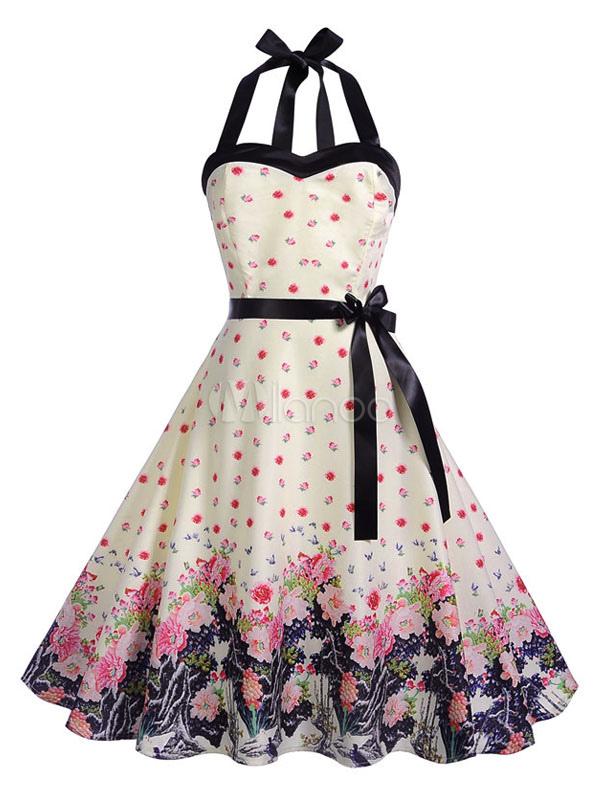 554678f3b081 Abito vintage in stile anni  50 Pin Up Rockabilly Halter senza maniche Bow  Sash Vestito ...