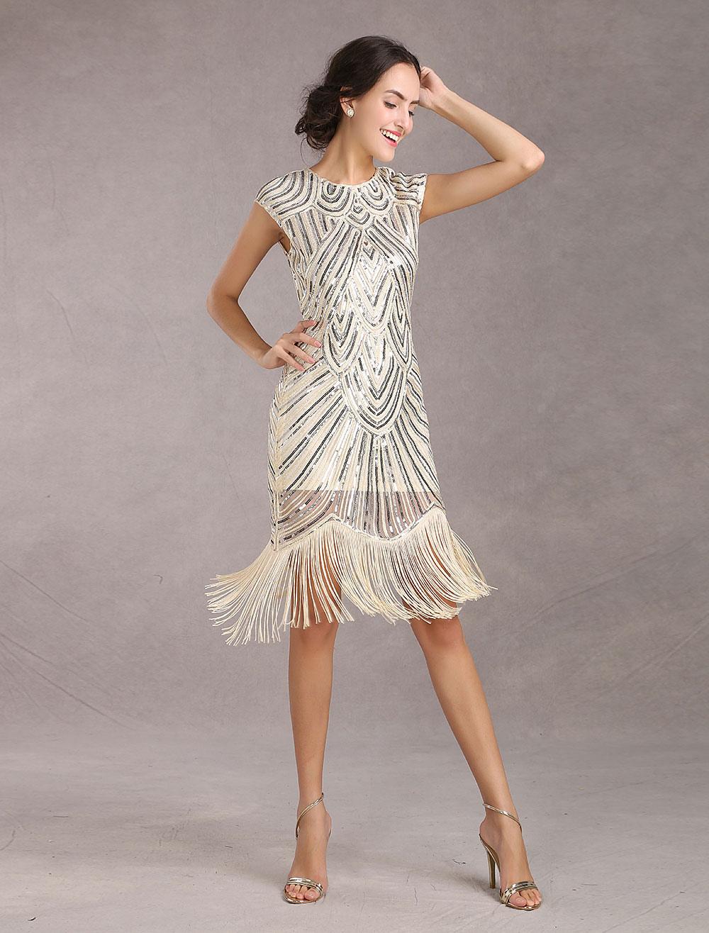 timeless design 962a5 914b6 Vestito da flapper 2019 degli anni '20 Vestito da albicocca delle nappe di  paillettes delle donne del costume di Gatsby vintage