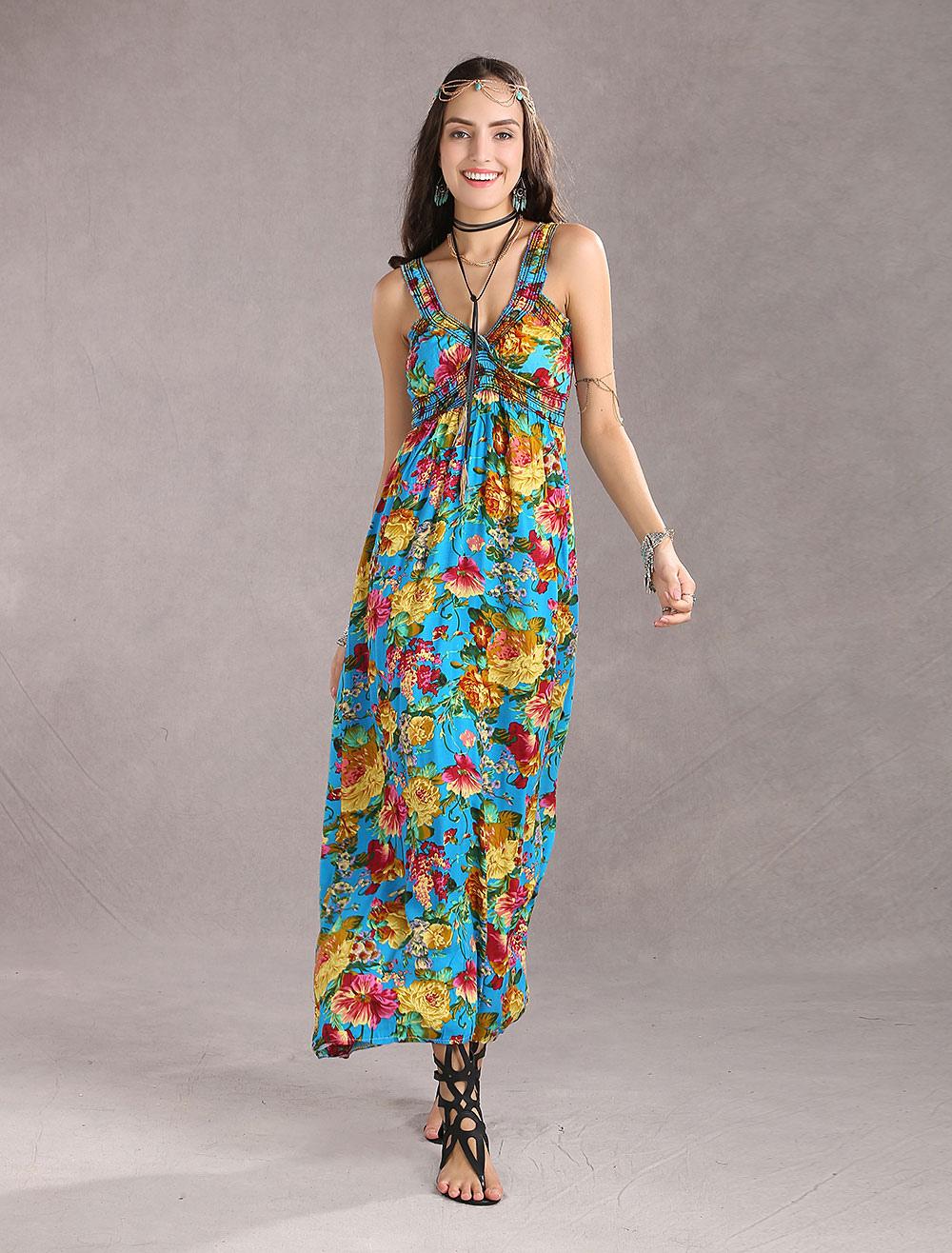 Vestidos Largos Sin Mangas Vestidos Playeros Plisados De Escote Redondo