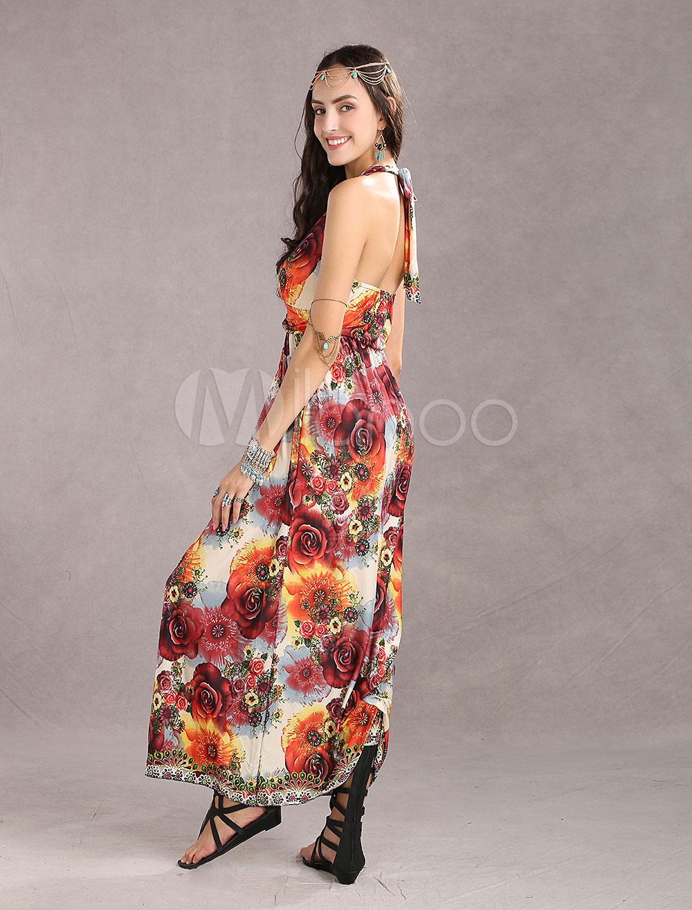 robe longue multicolore r glable pliss col v. Black Bedroom Furniture Sets. Home Design Ideas
