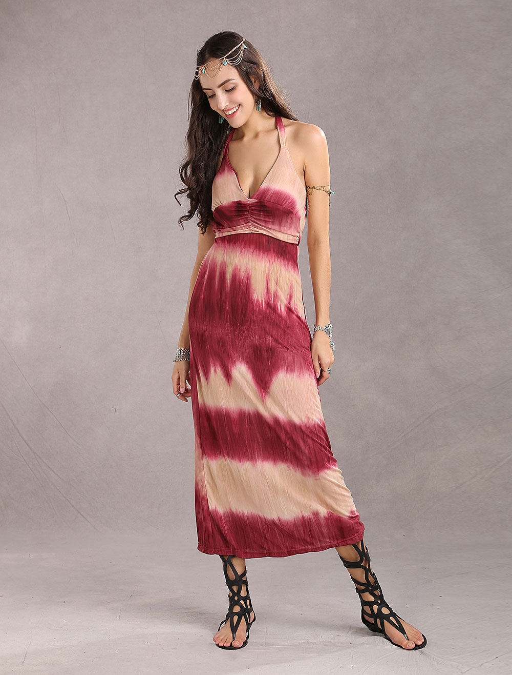 maxikleid ärmellos sommerkleider lang lila damenmode mit halter und  schnurbatik für sommer maxi kleid und alltag polyester kleider