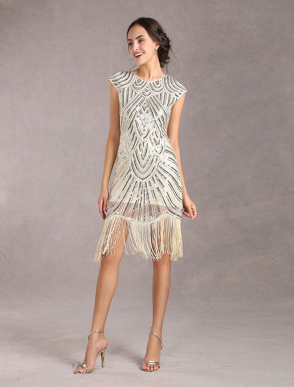 Halloween Kostüm 17er Jahre Flapper Kleid große Gatsby Kleid Damen  Pailletten Quasten Aprikose Kleid