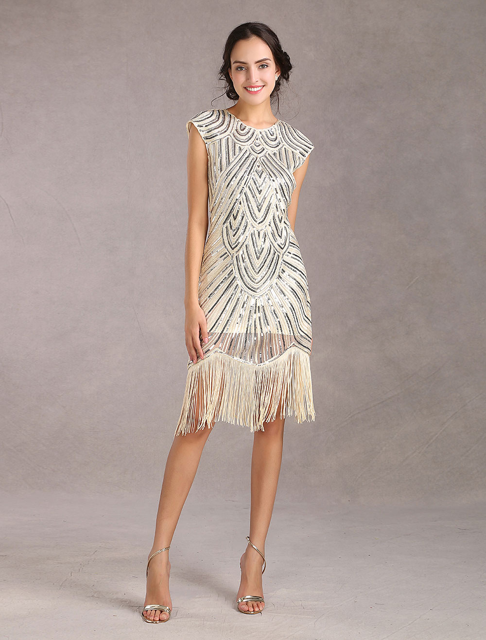 3c33fa258d9 1920s Flapper Dress Great Gatsby Vintage Costume Women s Sequin Tassels  Apricot Dress Halloween-No.