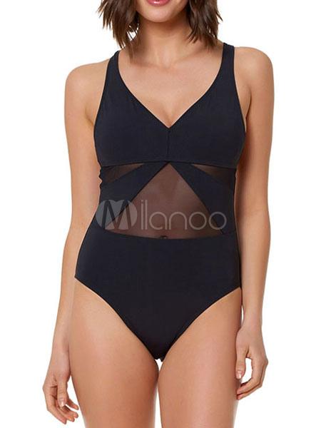 04a0434a0457 Costumi da bagno da donna Plus Size Costume da bagno intero sexy semi  strappy nero- ...