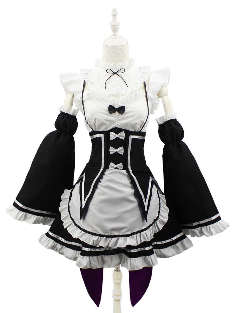 Re Zero Rem Kara Hajimeru Bunny Girl Servant Maid Costume Cosplay Dress /&