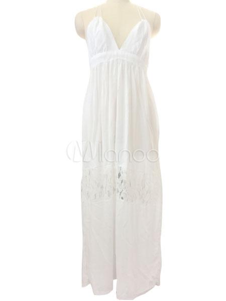 37b53a9ca ... Vestido de verano 2019 Vestido maxi sin espalda de las mujeres del vestido  blanco-No
