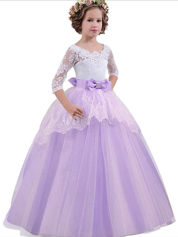 caldo-vendita stili di moda scarpe esclusive Abito damigella bambina 2019 vestito da principessa blu chiaro con fiocco a  terra