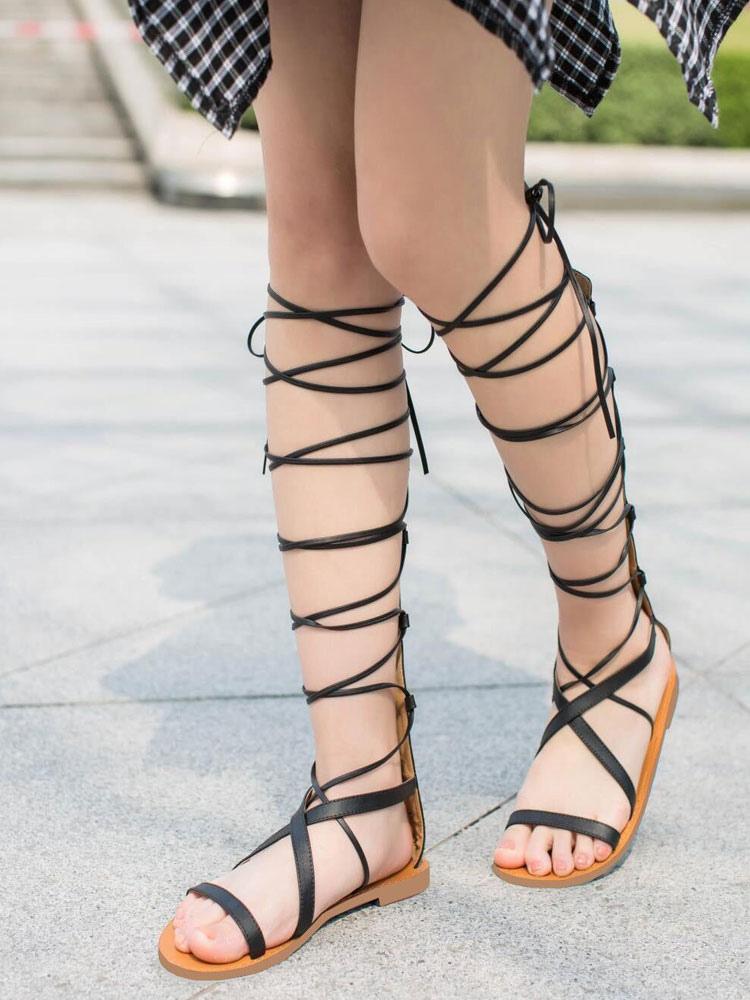 foto ufficiali 8e0bf f4883 Sandali gladiatore 2019 neri Sandalo con cinturino largo aperti sandali  alla schiava