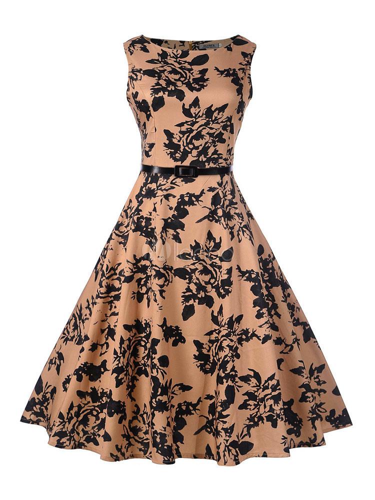 51b29e58af Magnétique robe vintage rose rétro imprimé fleurie avec ceinture col rond  street style-No.