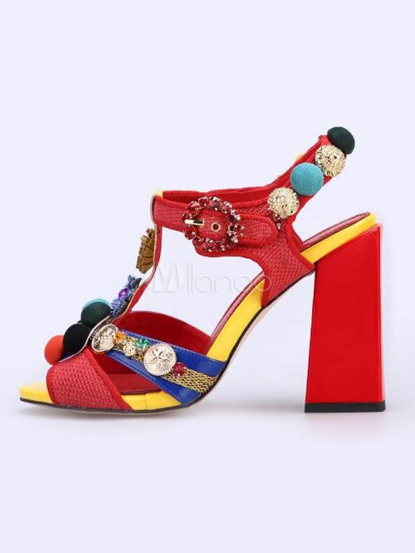 T Talon Femmes Bout Avec Ouvert 2019 Chaussures Haut Poms Rouge Strasss Type De Pom Fête QhxtdBCsr