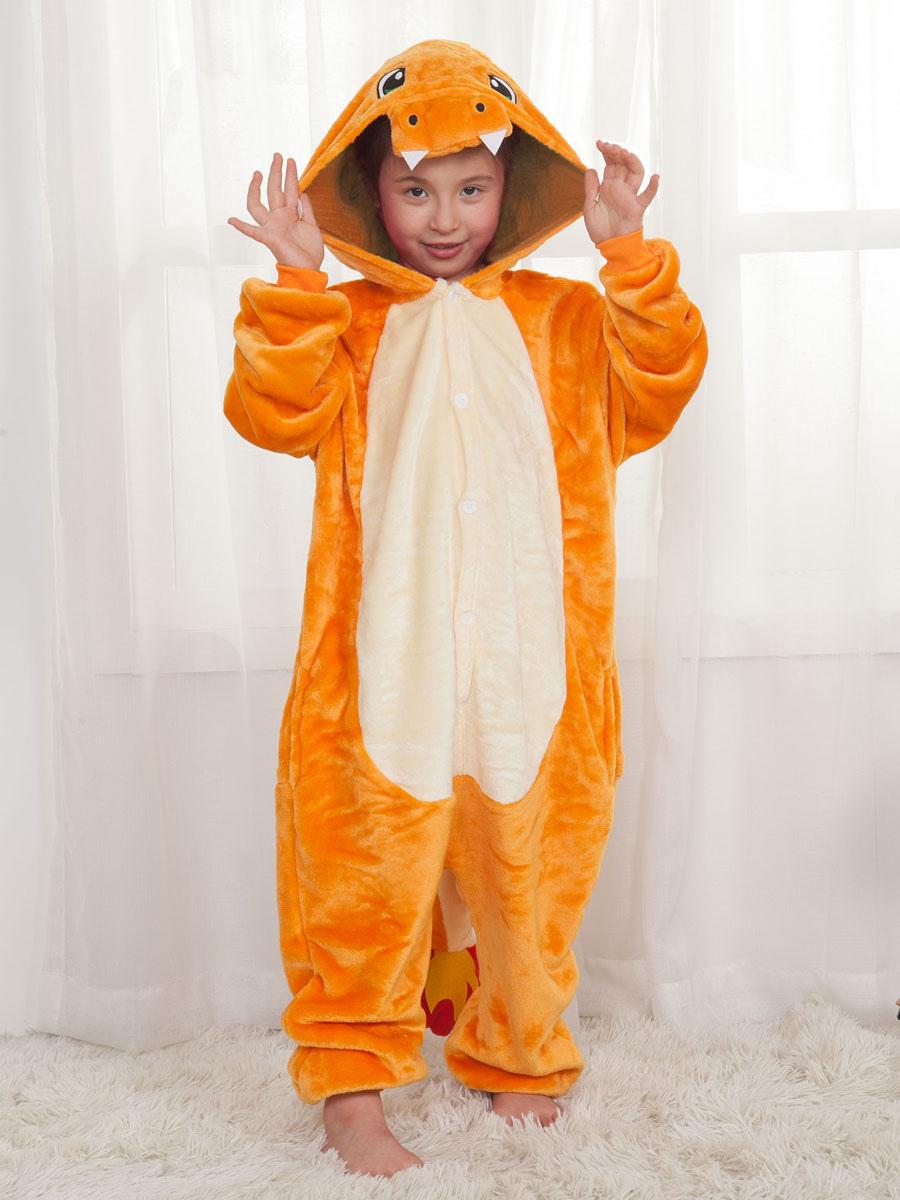 Onesie Pajamas Kigurumi Charizard Orange Jumpsuit For Kids Halloween