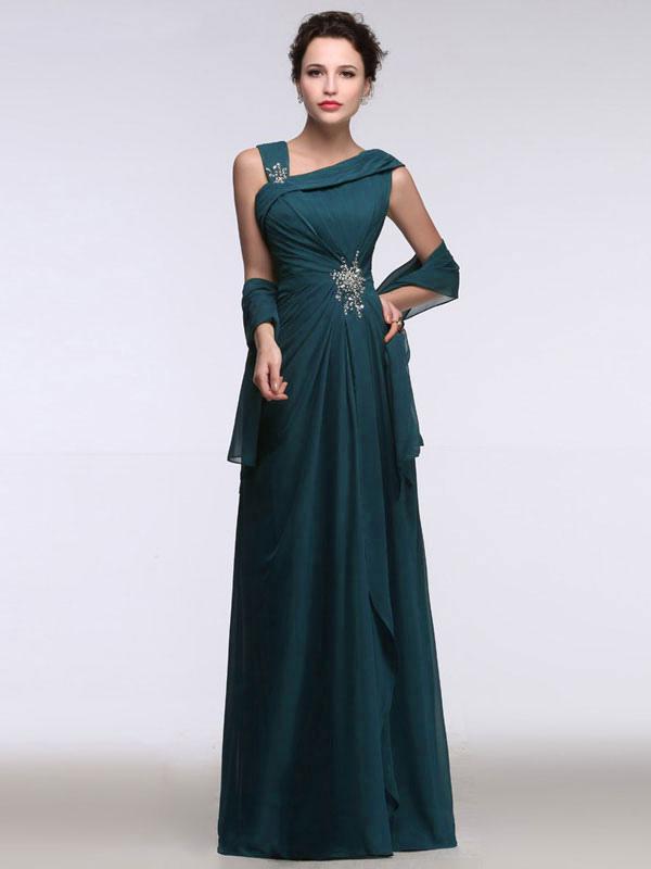 new arrival feaaa 1dbf4 Abito da sera in chiffon vestito verde smeraldo una cinghia di spalla  annodato strass A linea Maxi Party Dress