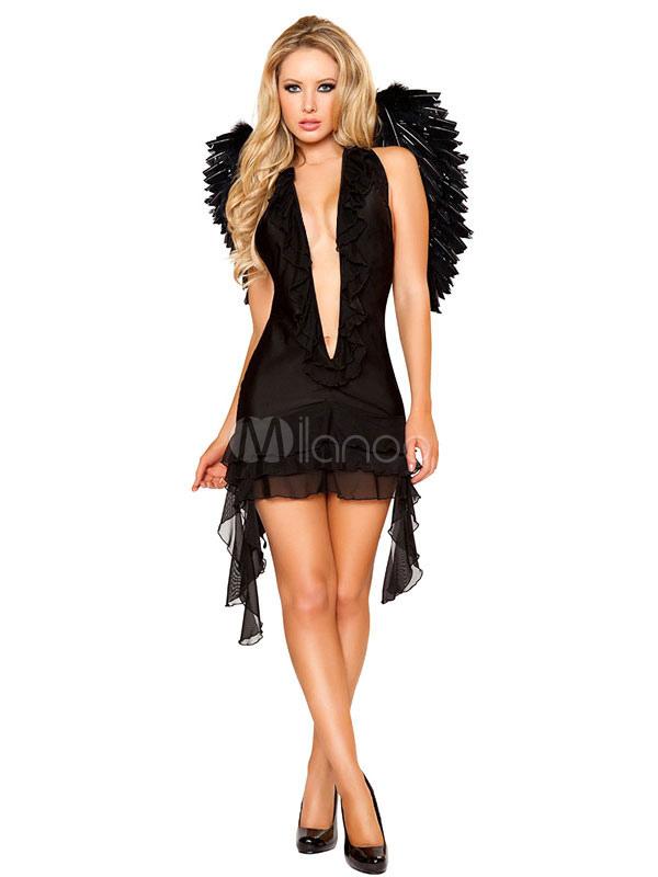 Fantasia De Anjo Negro Baixo Corte Elegante Traje De Poliester Halloween Milanoo Com