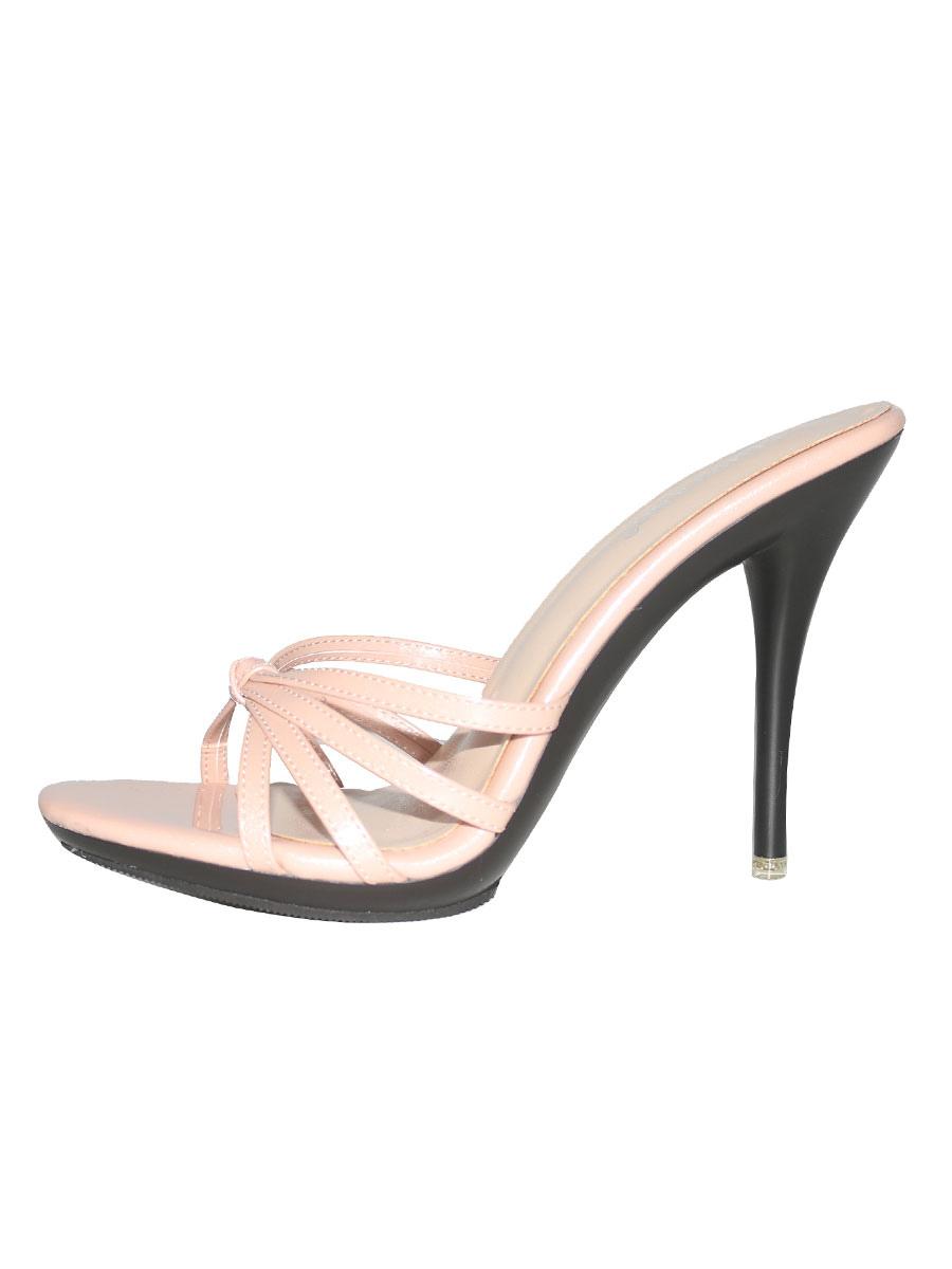 baratas diseño novedoso alta calidad Sandalias de tacón alto Sandalias de tobillo con abertura abierta Sandalias  de mujer sin tacón con punta abierta