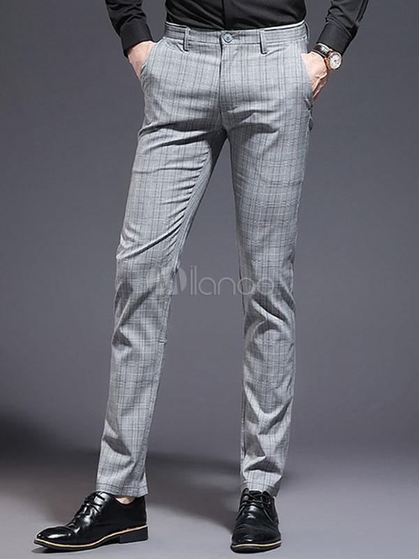 Pantalon Gris De Algodon A Cuadros De Los Hombres Pant Pantalones Grises Slim Fit Casual Milanoo Com