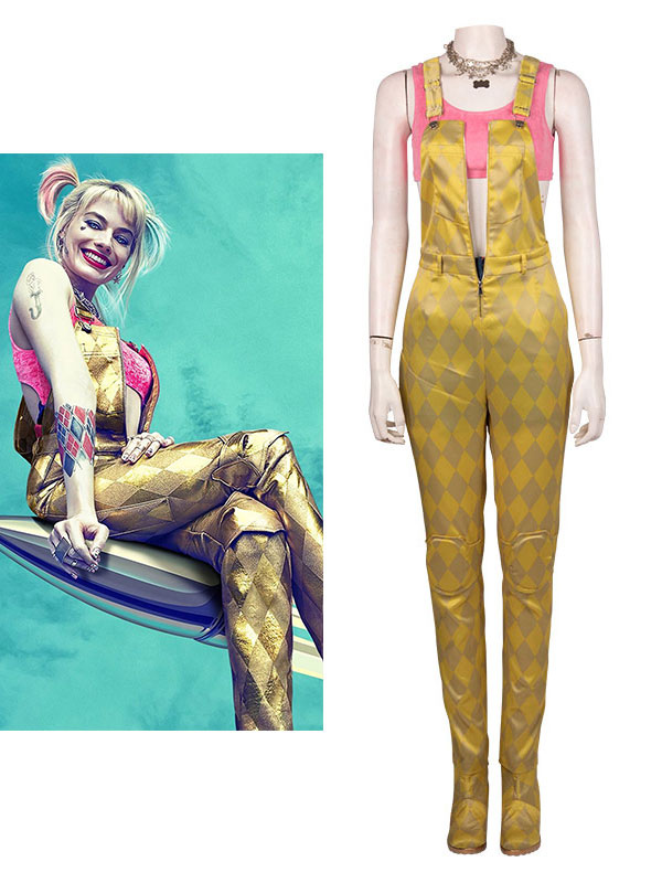 Birds Of Prey Cosplay Harley Quinn Yellow Cosplay Jumpsuit Set No Shoes And Necklace Milanoo Com