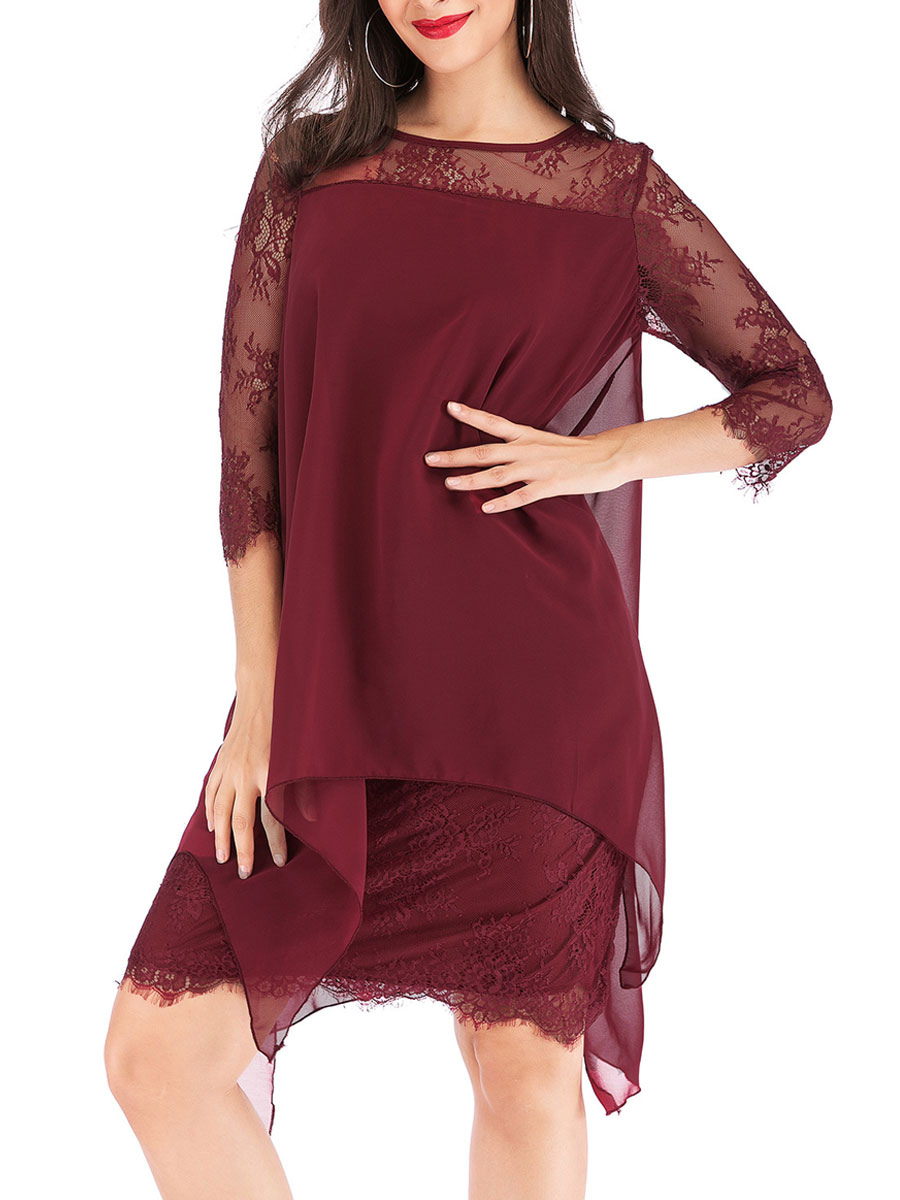 Tunika kleid Langarm Kleider Burgunderrot Chiffon mit Rundkragen Damenmode  für Herbst im casualen Stil