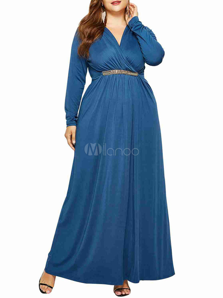 Robe Maxi Grande Taille Pour Femme Robe A Manches Longues Turquoise Milanoo Com