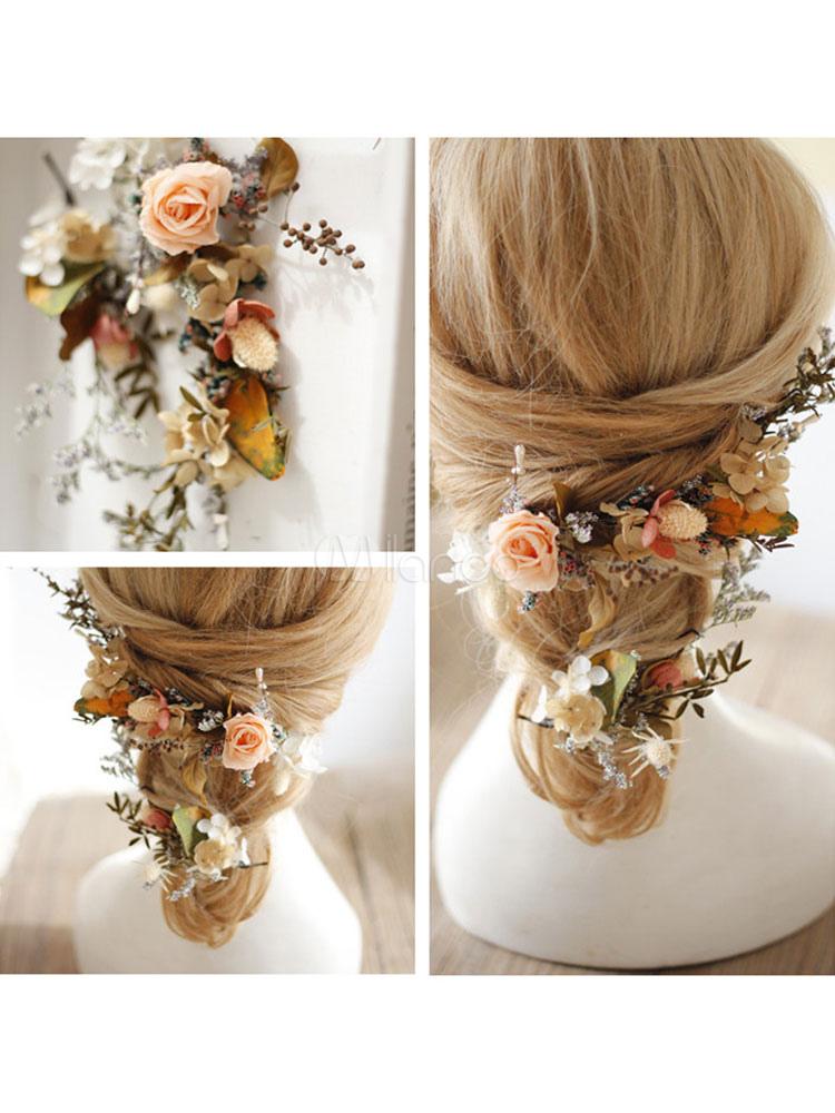 Accessori per capelli da sposa fiori secchi secchi copricapo - Milanoo.com