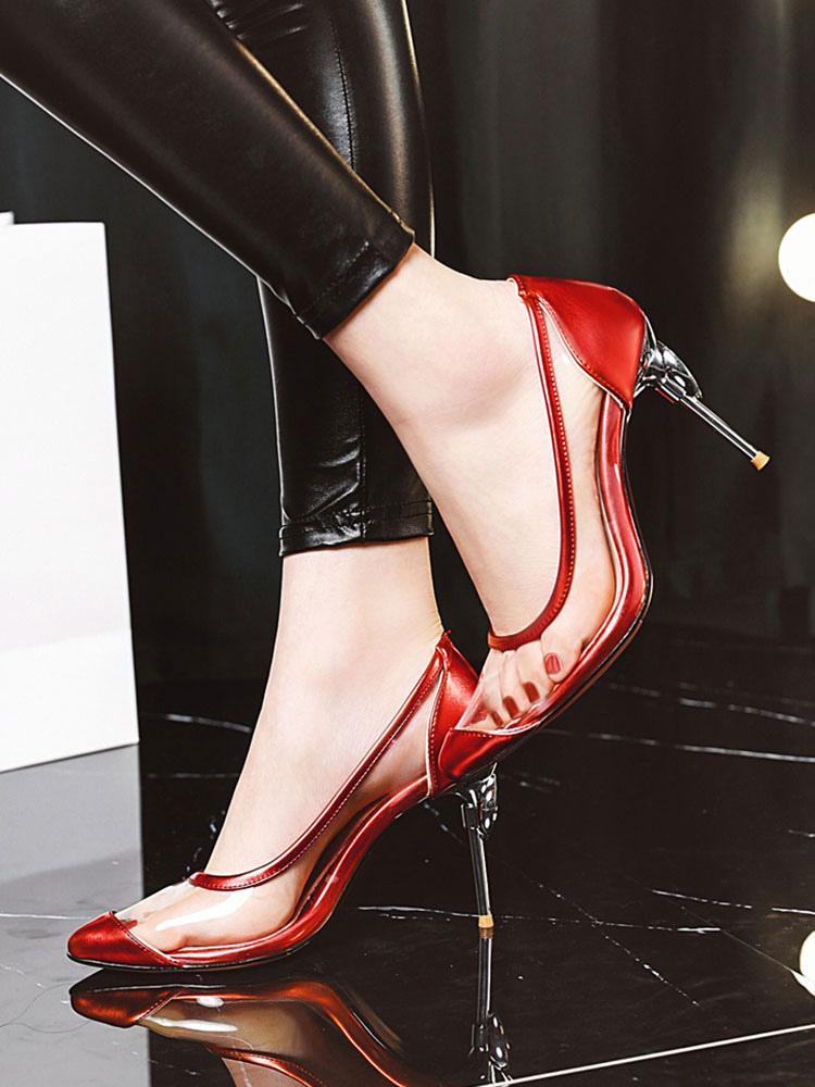 Bombas Transparentes Para Mujer Zapatos De Tacon De Aguja Transparentes Tacones De Aguja Tallas Grandes Milanoo Com