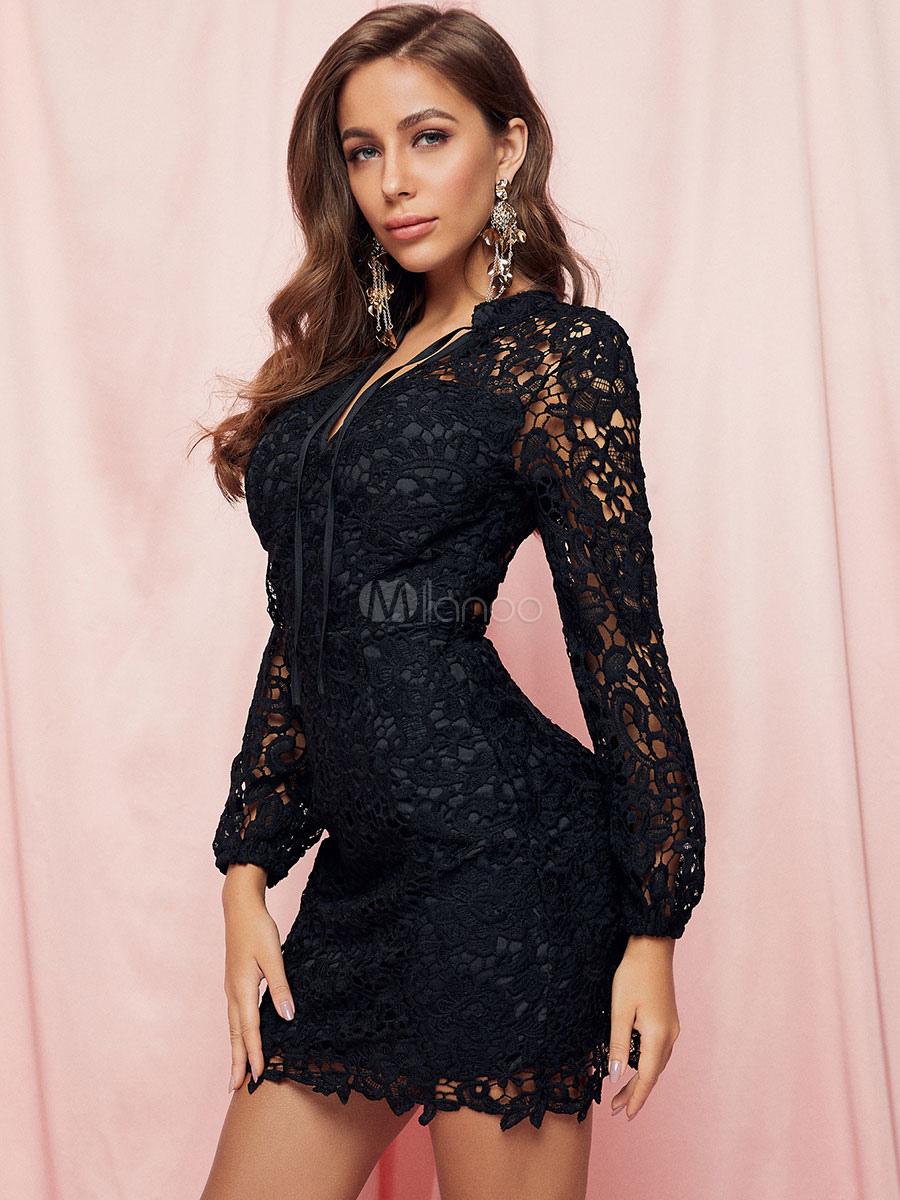 spitzenkleider schwarz kleid mit spitze v-ausschnitt mittellang kleider  damenmode langarm mit spitzen für frühling und herbst im boho-style