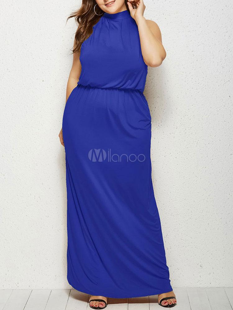 Vestiti Lunghi Eleganti Blu.Vestiti Lunghi Blu Abiti Lunghi Cotone Misto Monocolore Smanicato