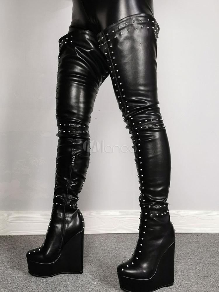 Wedge Heel Thigh High Boots
