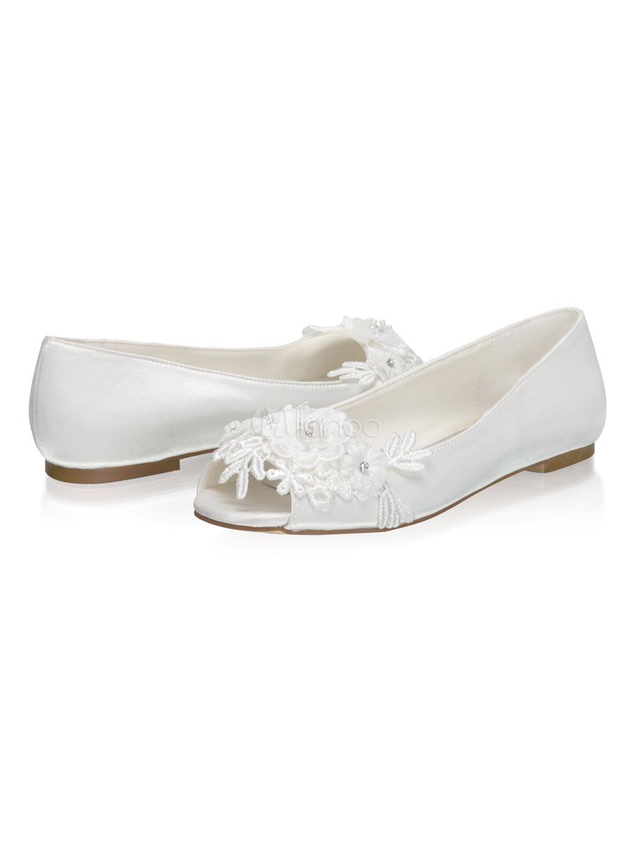 Flat Wedding Shoes Satin Peep Toe