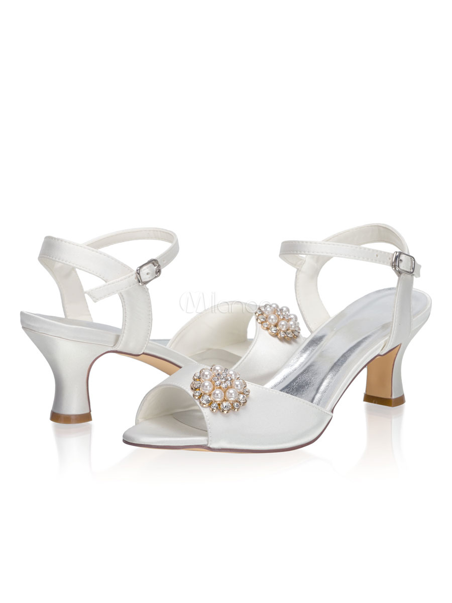 Wedding Sandals Satin Ivory Pearls Kitten Heel 2 4 Bridal Shoes