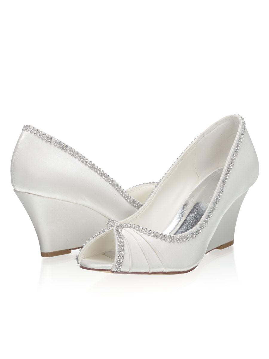 nuovi stili sporco scarpe autunnali Scarpe da sposa con zeppa Scarpe da sposa con punta aperta in raso ...