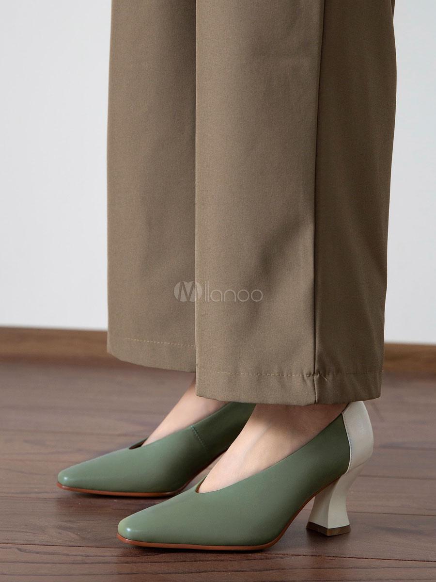Frau V Schnitt Vintage Schuhe Retro quadratische Zehe mittlere Ferse Grün Pumps
