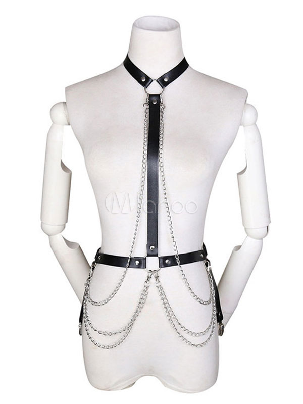 Womens Punk Waist Belt Body Chain Faux Leather Harness Adjustable with Buckles and O-Rings N01
