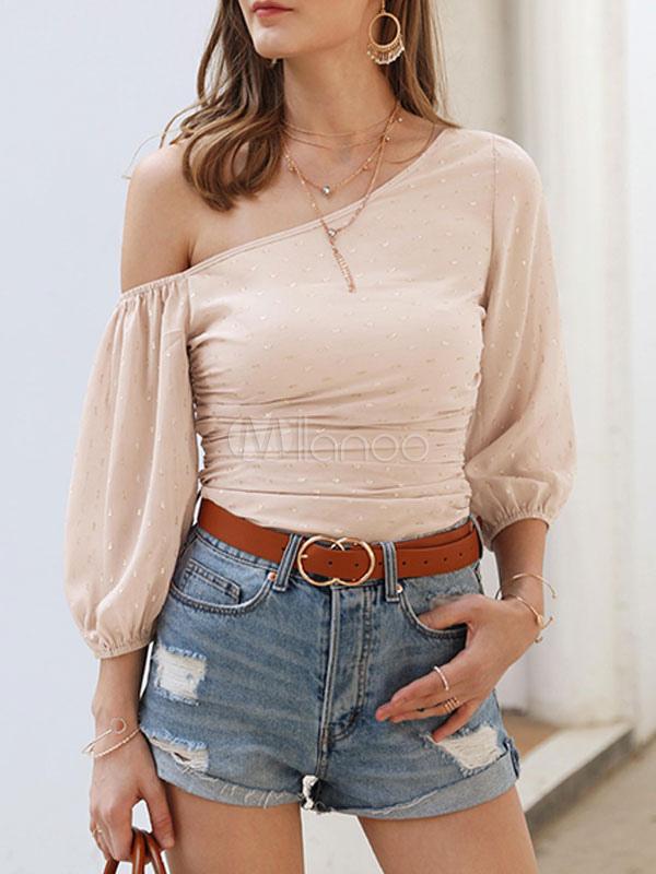 Sexy Tops Chiffon Polka Dot One Shoulder Tee Shirt For Women