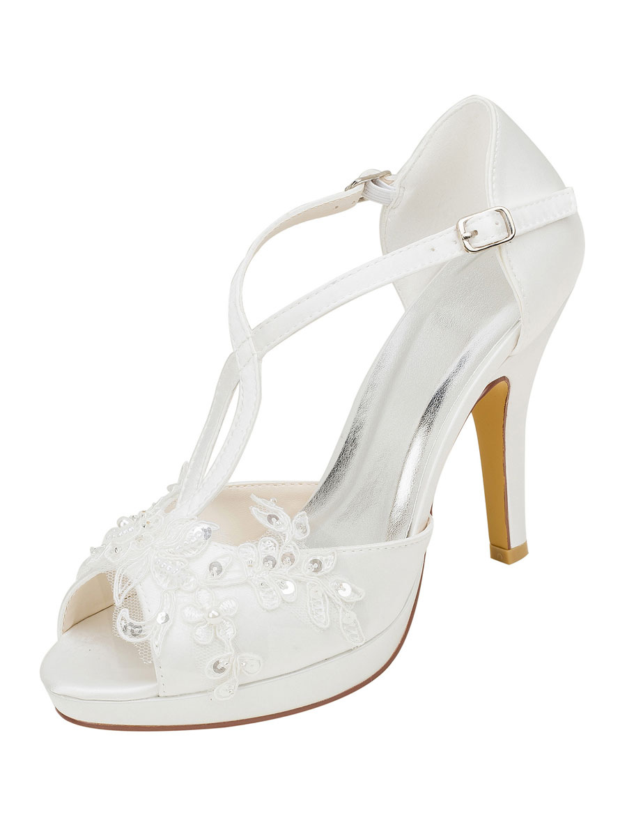 Platform Wedding Shoes T Bar Sandals Beaded Peep Toe Stiletto Heel