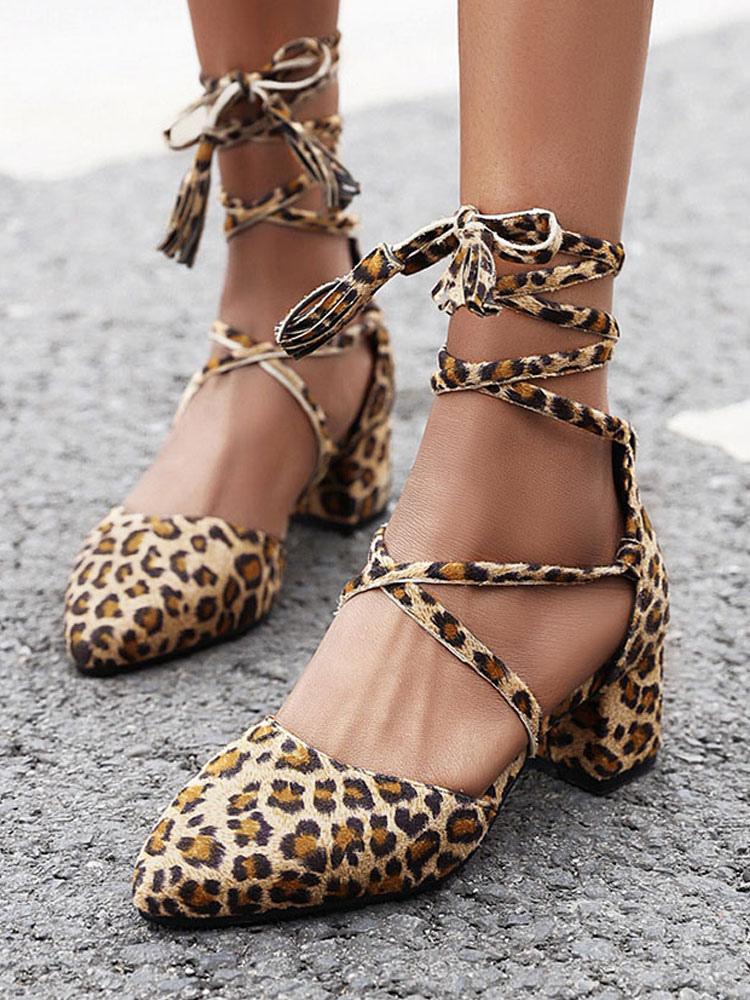 leopard print lace up heels