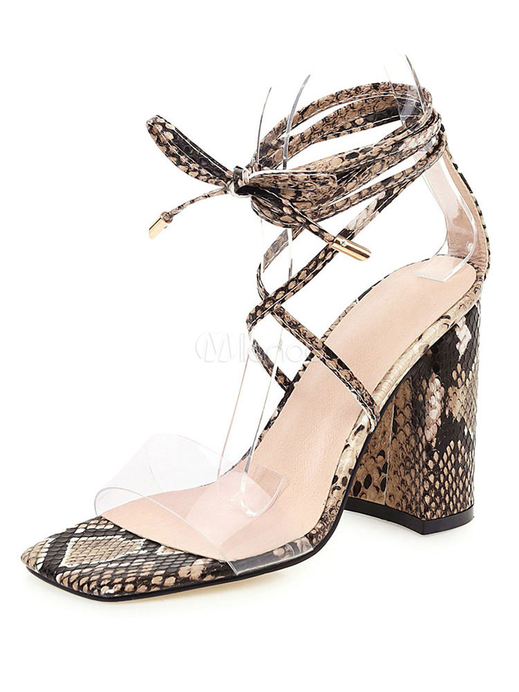 High Heel Sandals Womens Snakeskin Open