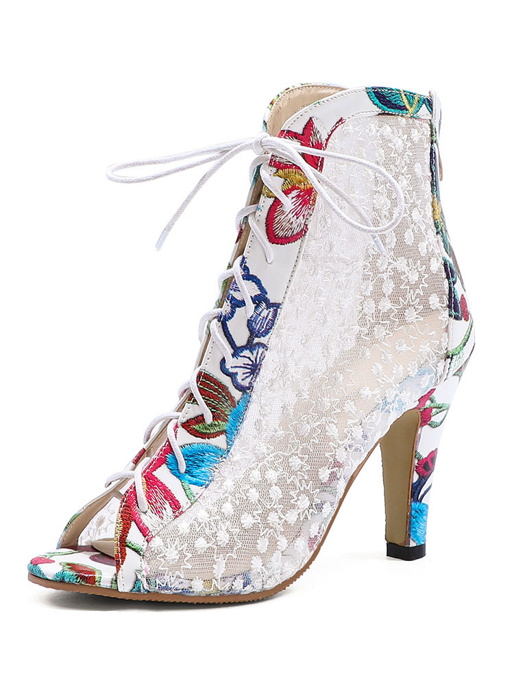 Peep Toe Boots Mesh Lace Up High Heel