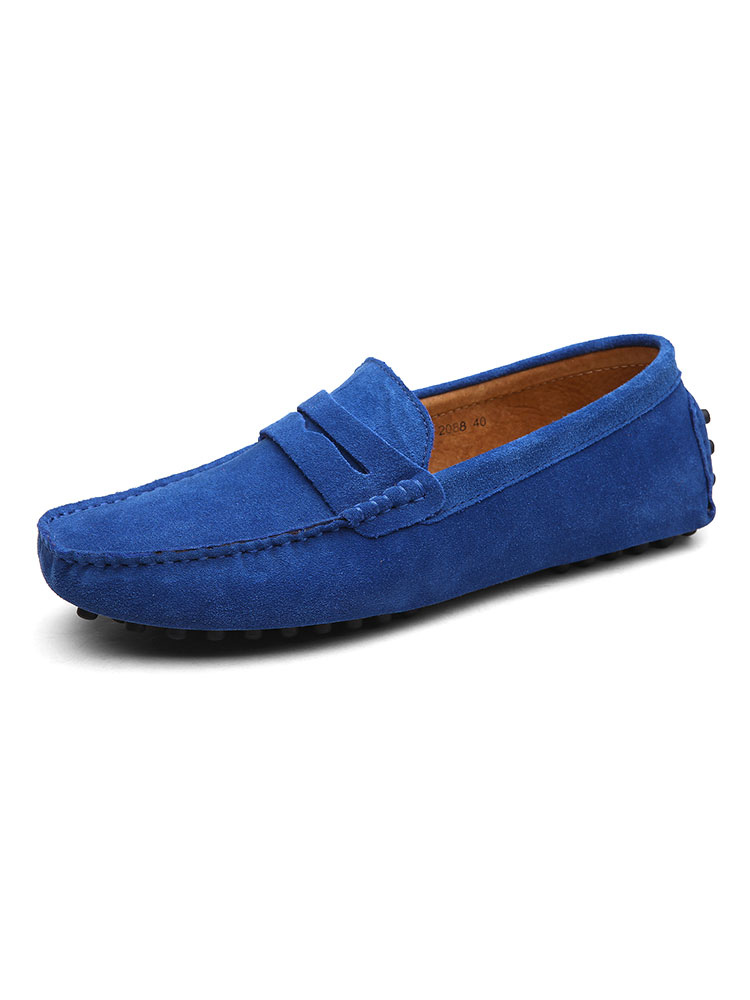 TongLing Mens Driving Penny Loafers Suede