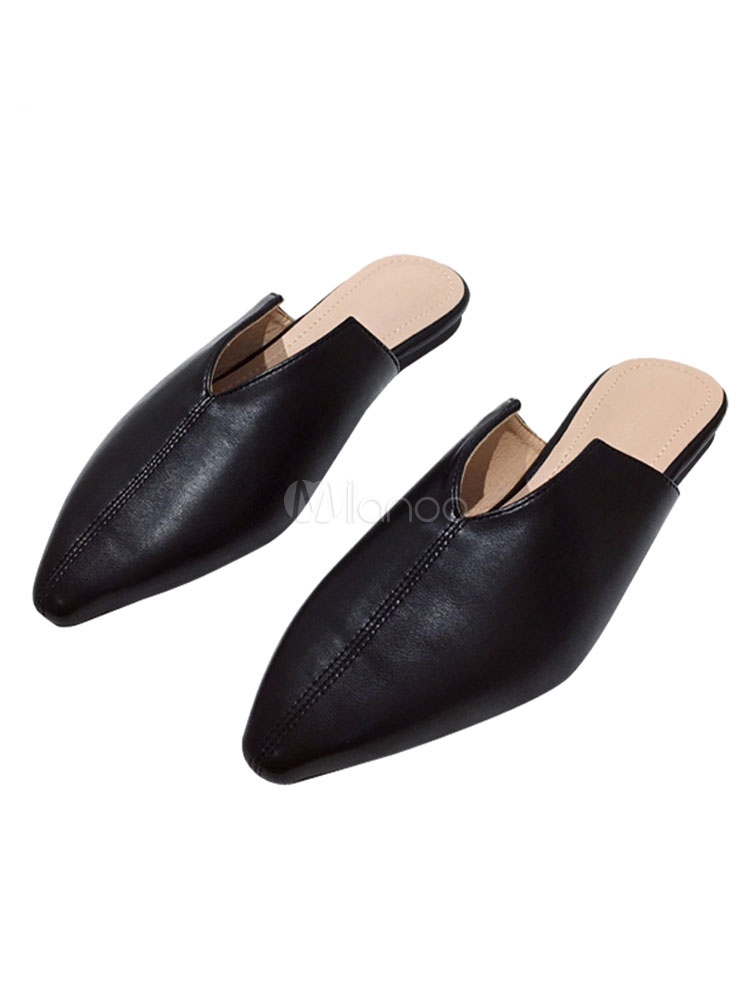 Womens Flat Mules Black leather Pointed